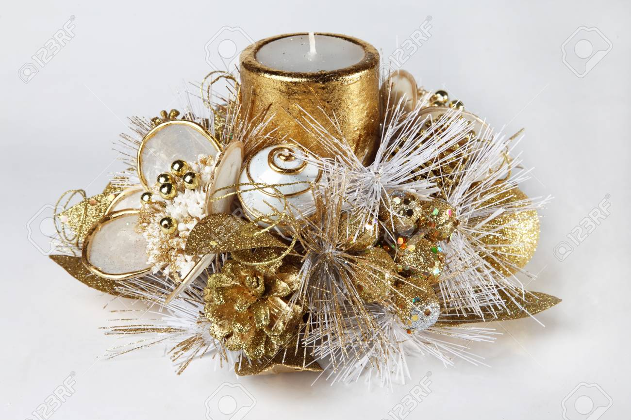 Christmas Candle Decoration For Home Stock Photo