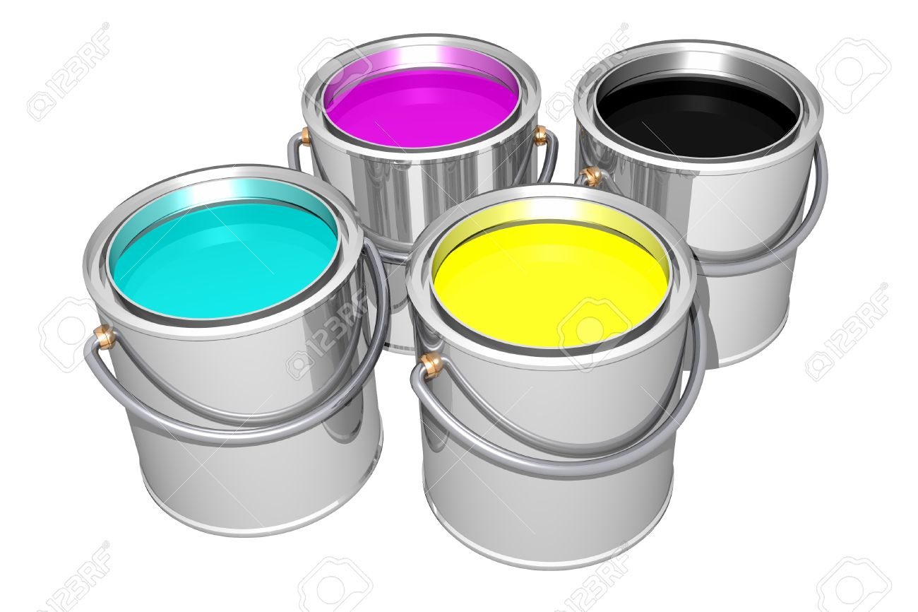 cyan magenta yellow and black paint cans isolated on white