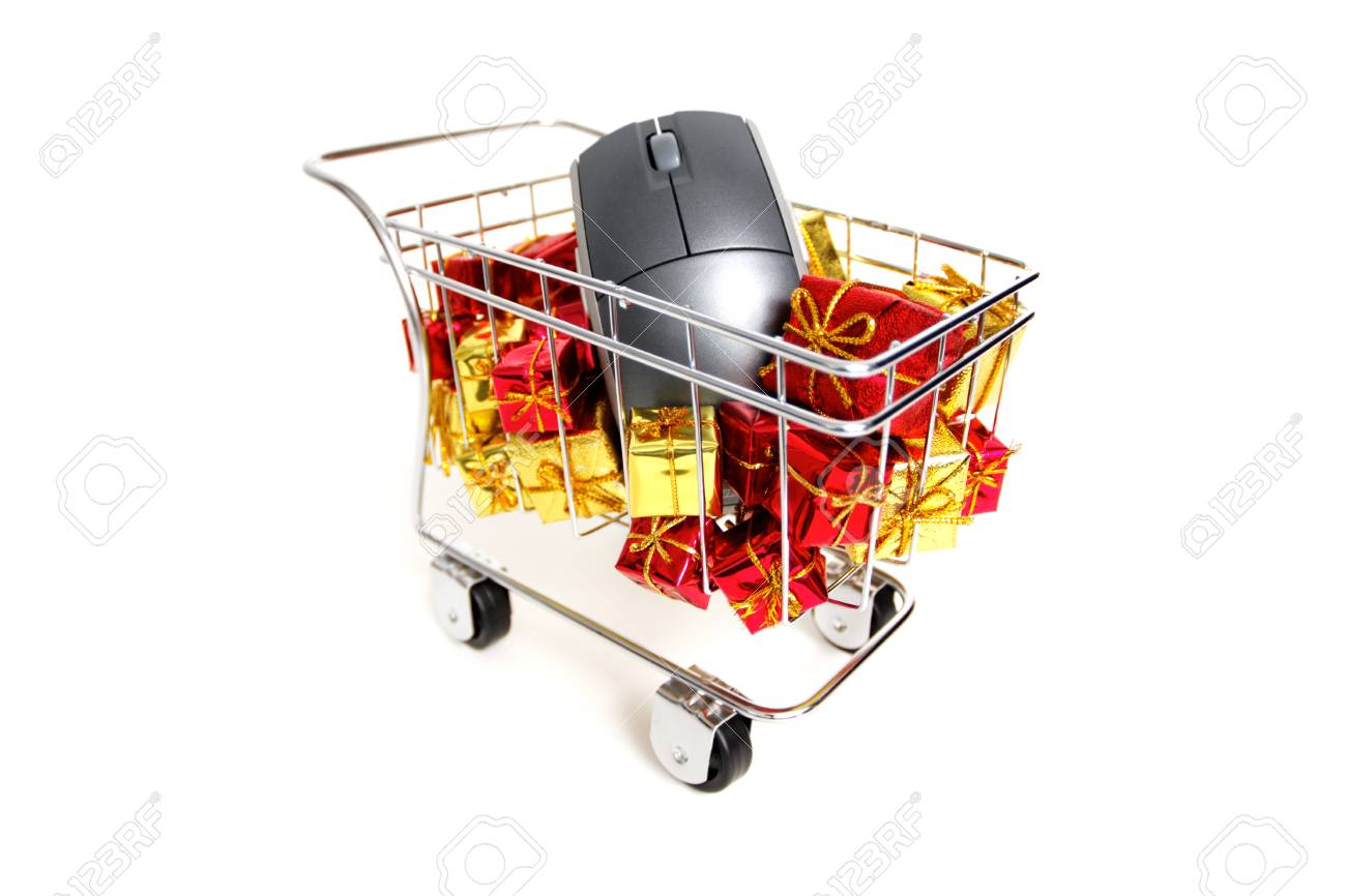 E-commerce Christmas shopping time on white background Stock Photo - 18582093