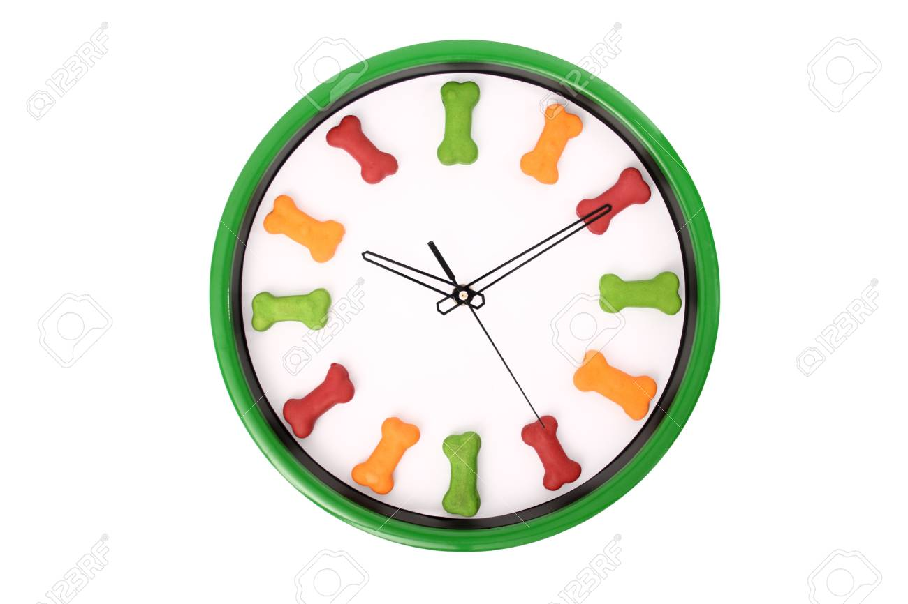 A clock with dog biscuits isolated on a white background. Stock Photo - 18599144