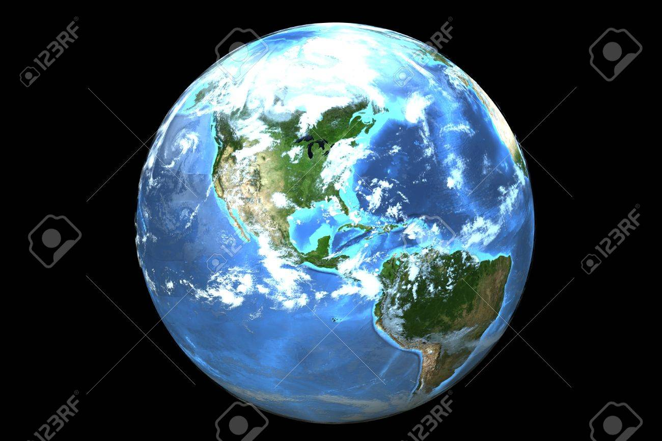 Three dimensional image of planet earth isolated on a black background Stock Photo - 18599894