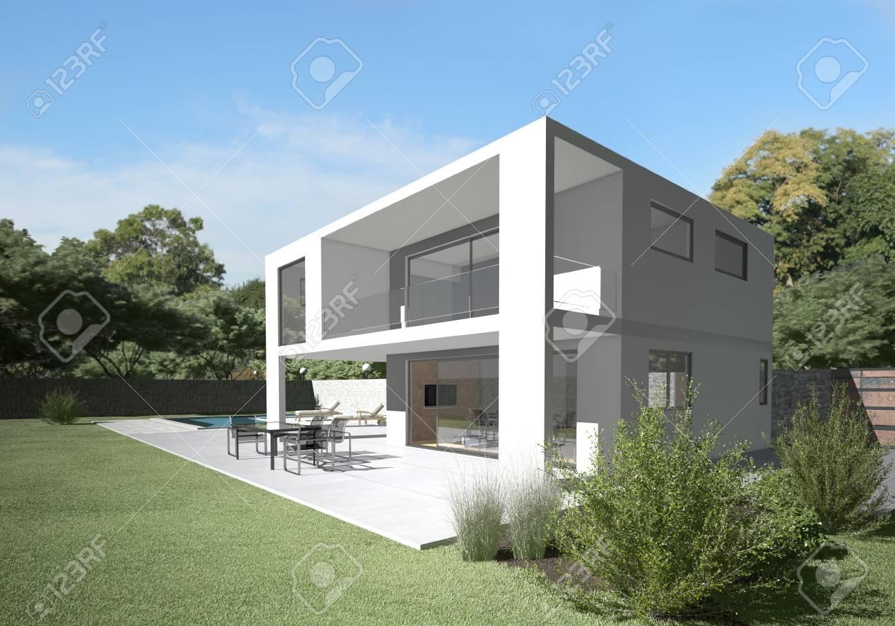 Villa Moderne Avec Terrasse Et Jardin Conception Et Matériaux Propres Paisible Arrière Plan Et Assis Sur La Terrasse Le Droit Du Salon