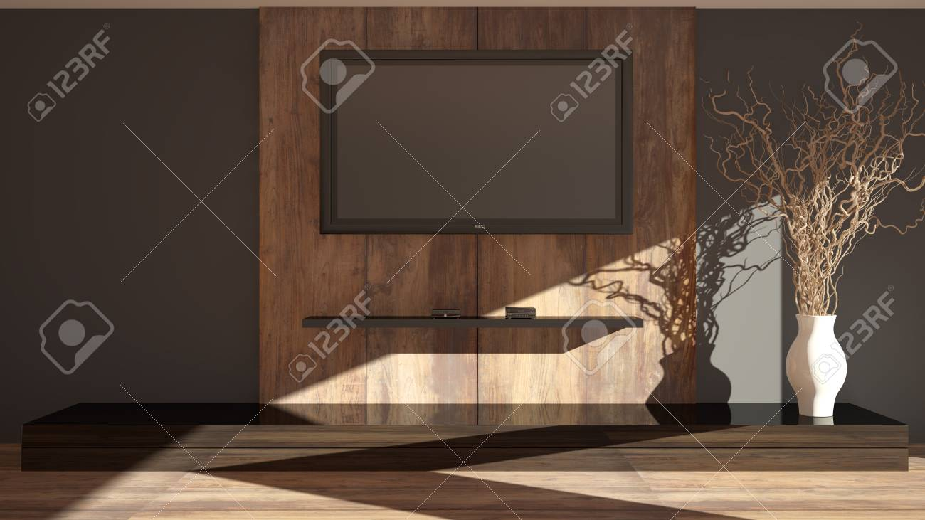 Modern Part Of Living Room For TV And Equipment. Grey Wall In Living Room  With Wood Part From Big Planks For TV And Equipment And Luxury Shine Cabinet .