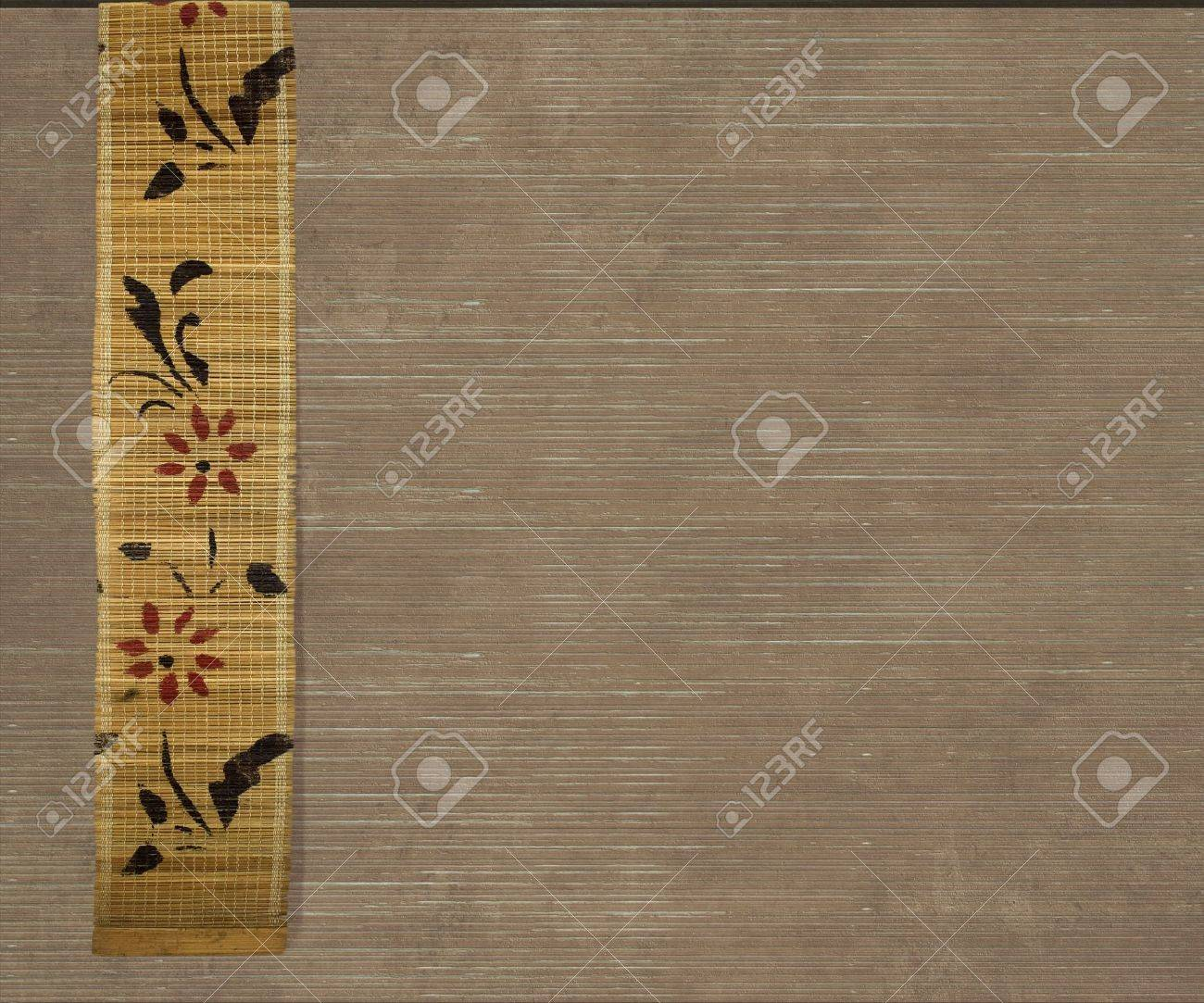 Flower bamboo banner on light brown ribbed wood background Stock Photo - 8138686