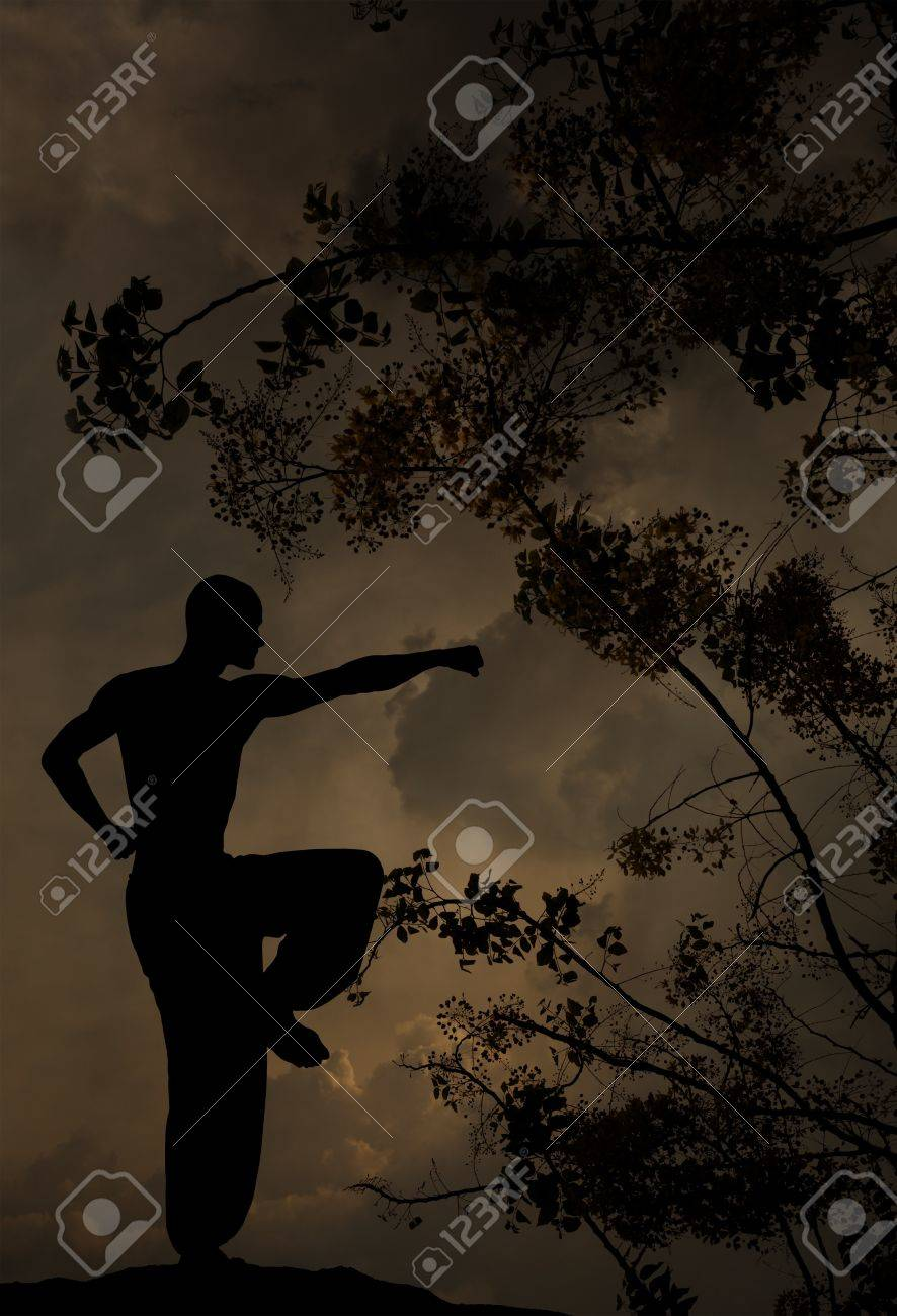 spiritual man practises martial arts textured background Stock Photo - 9651068