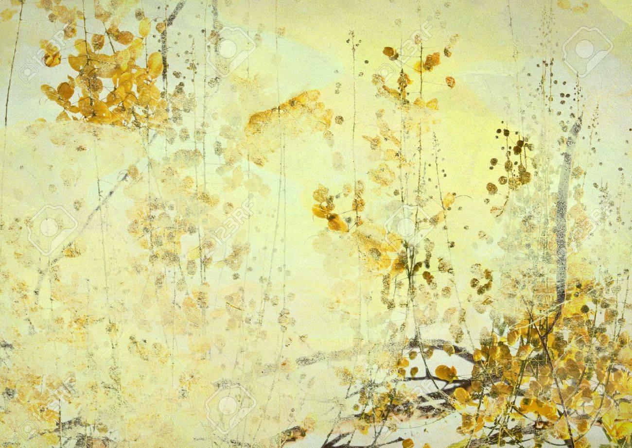 Yellow Cassia Fistula Art illustration Textured Background Stock Illustration - 9813743