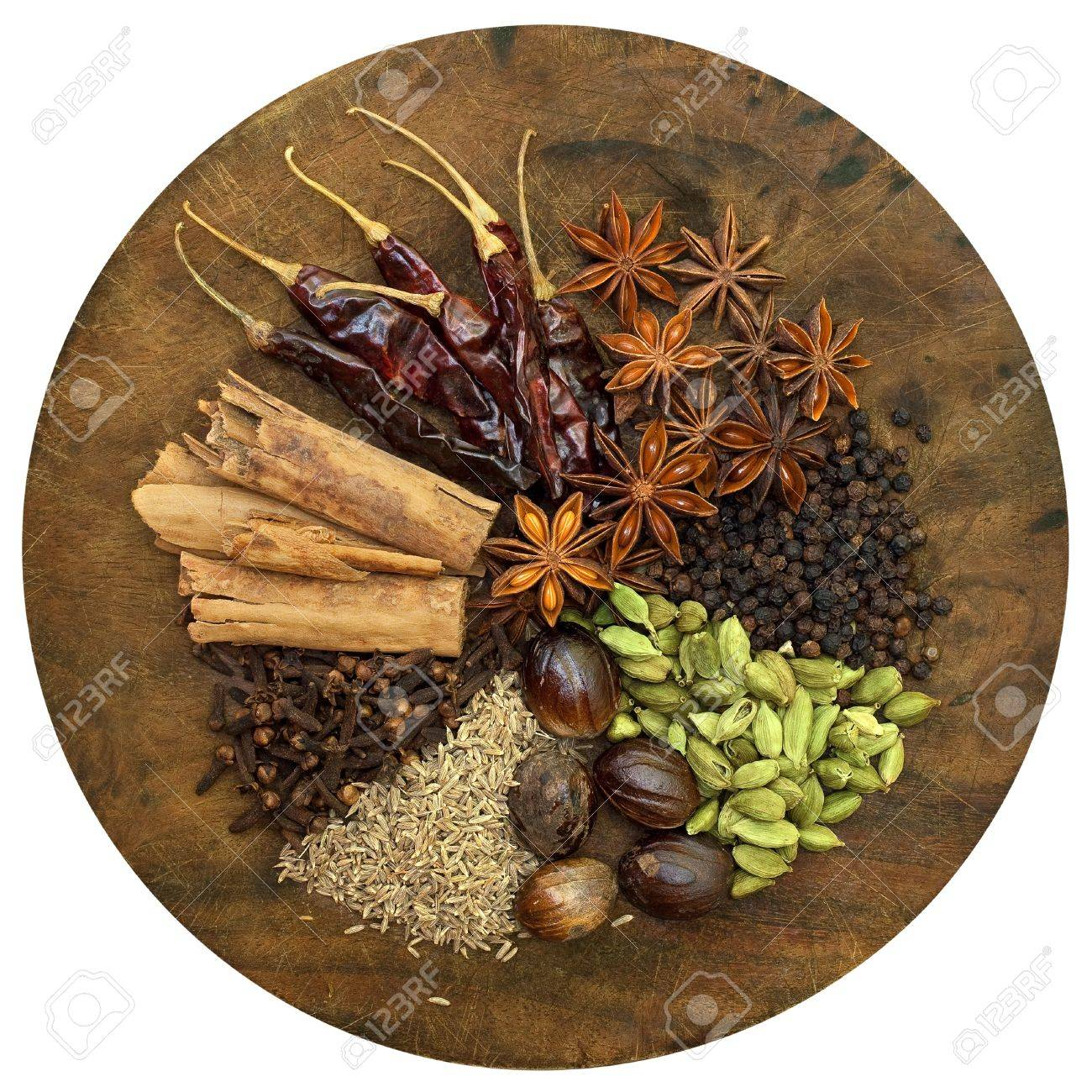 Image of Mixed Spices on a Wooden Chopping Board Stock Photo - 11139412