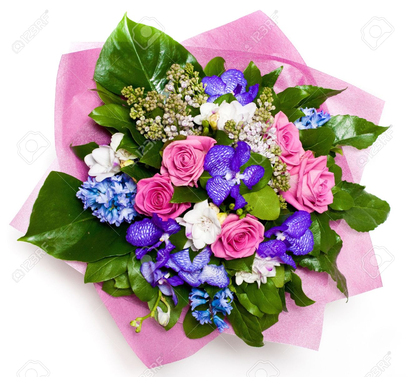 Mazzo Fiori.Bunch Of Flowers With Roses And Lilac In Vase Stock Photo Picture