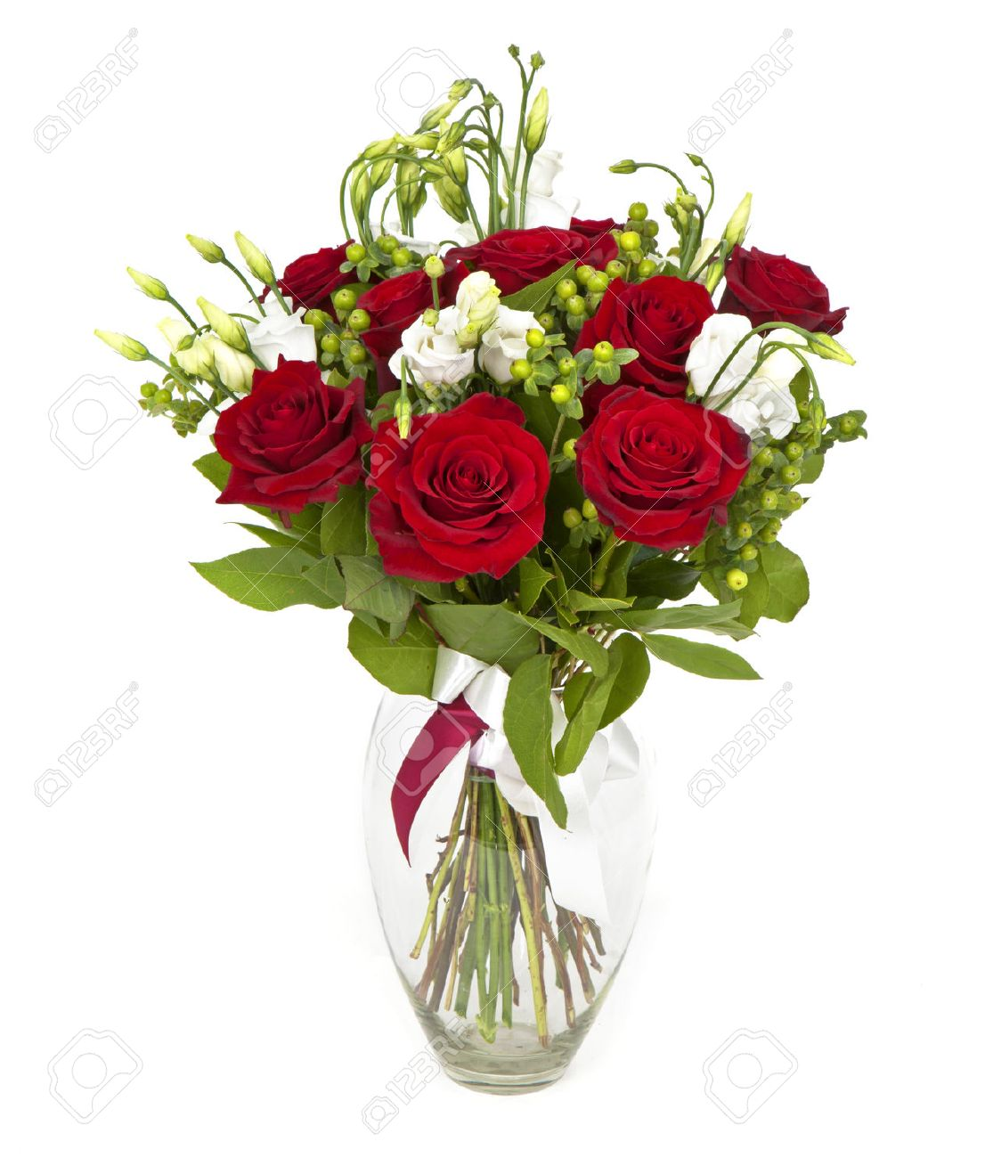 Bouquet Of Red Roses And White Flowers On White Stock Photo Picture