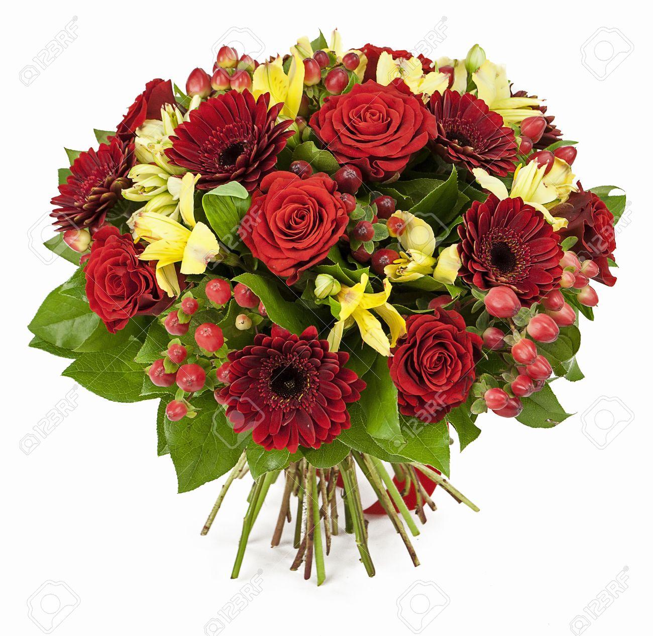バラの花束赤と白で隔離されるガーベラ