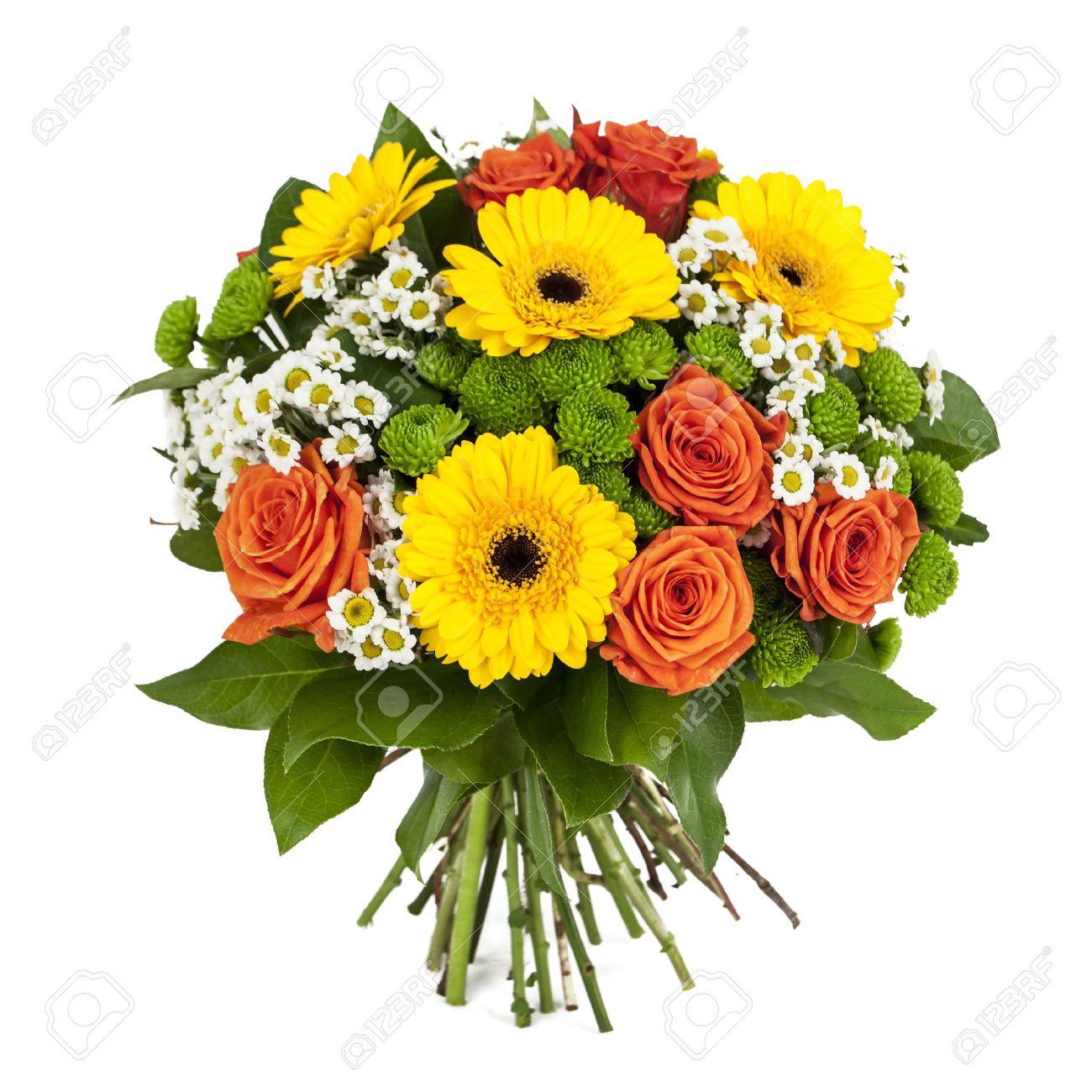 Banque d\u0027images , Bouquet de fleurs jaunes et orange isolé sur fond blanc