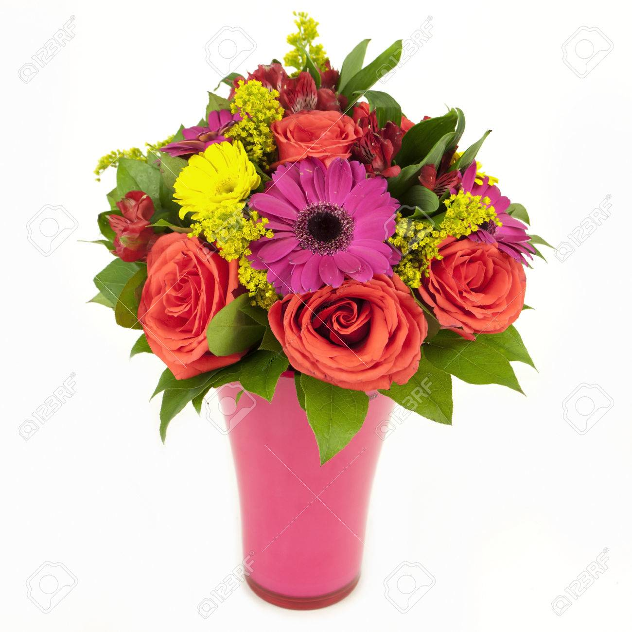 Bouquet Of Pink And Yellow Flowers In Vase Isolated On White Stock
