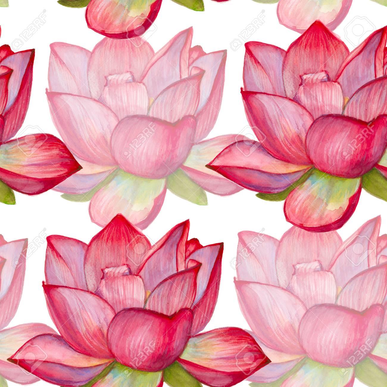 Background with pink lotus flower seamless pattern watercolor background with pink lotus flower seamless pattern watercolor illustration stock illustration 60372196 mightylinksfo