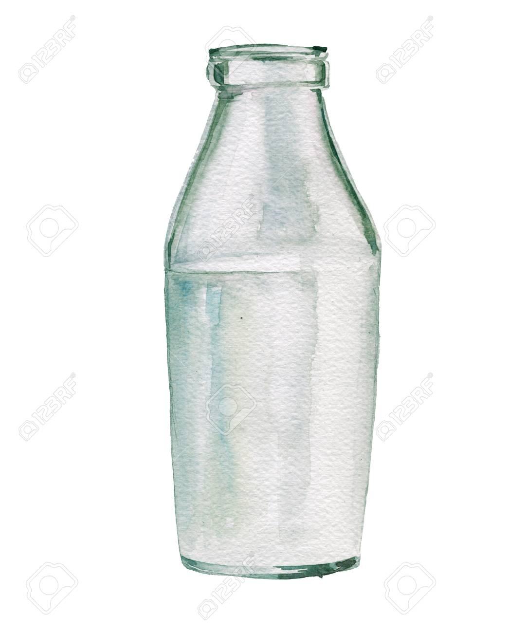ガラス瓶の牛乳水彩イラスト白い背景上に分離 の写真素材画像