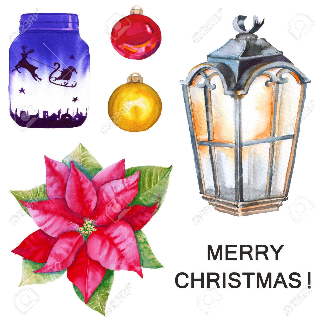 Poinsettia, gift Bank, lantern, Christmas balls. Isolated.