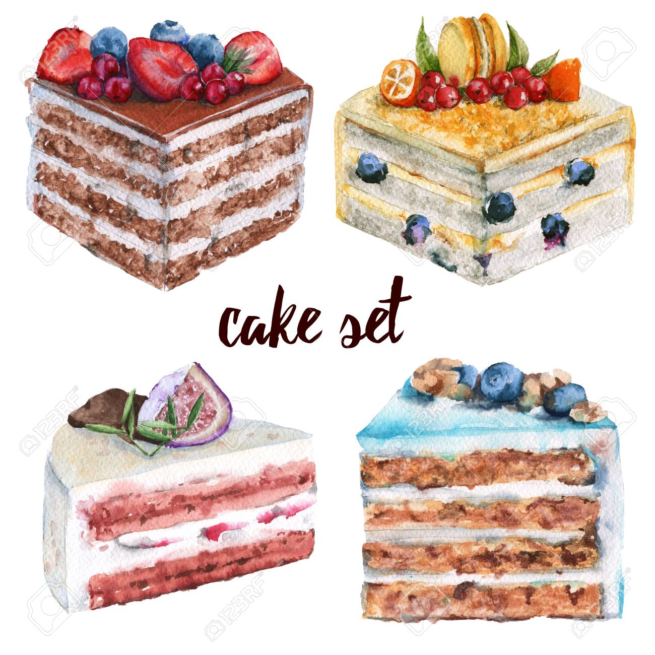 Illustration - Set a piece of cake. With berries and biscuits. Isolated on a  white background. Watercolor illustration.