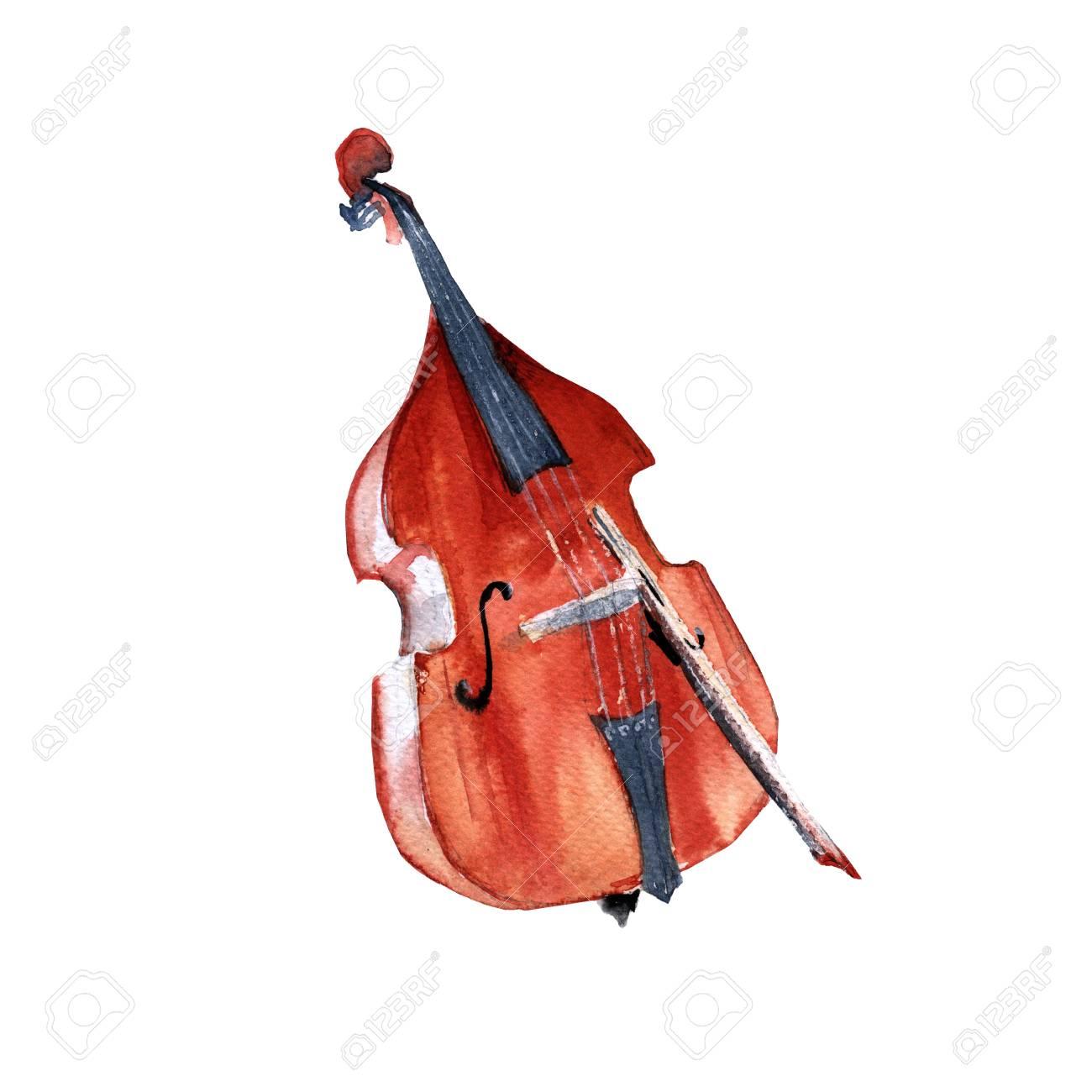 楽器コントラバス白い背景上に分離水彩イラスト の写真素材画像