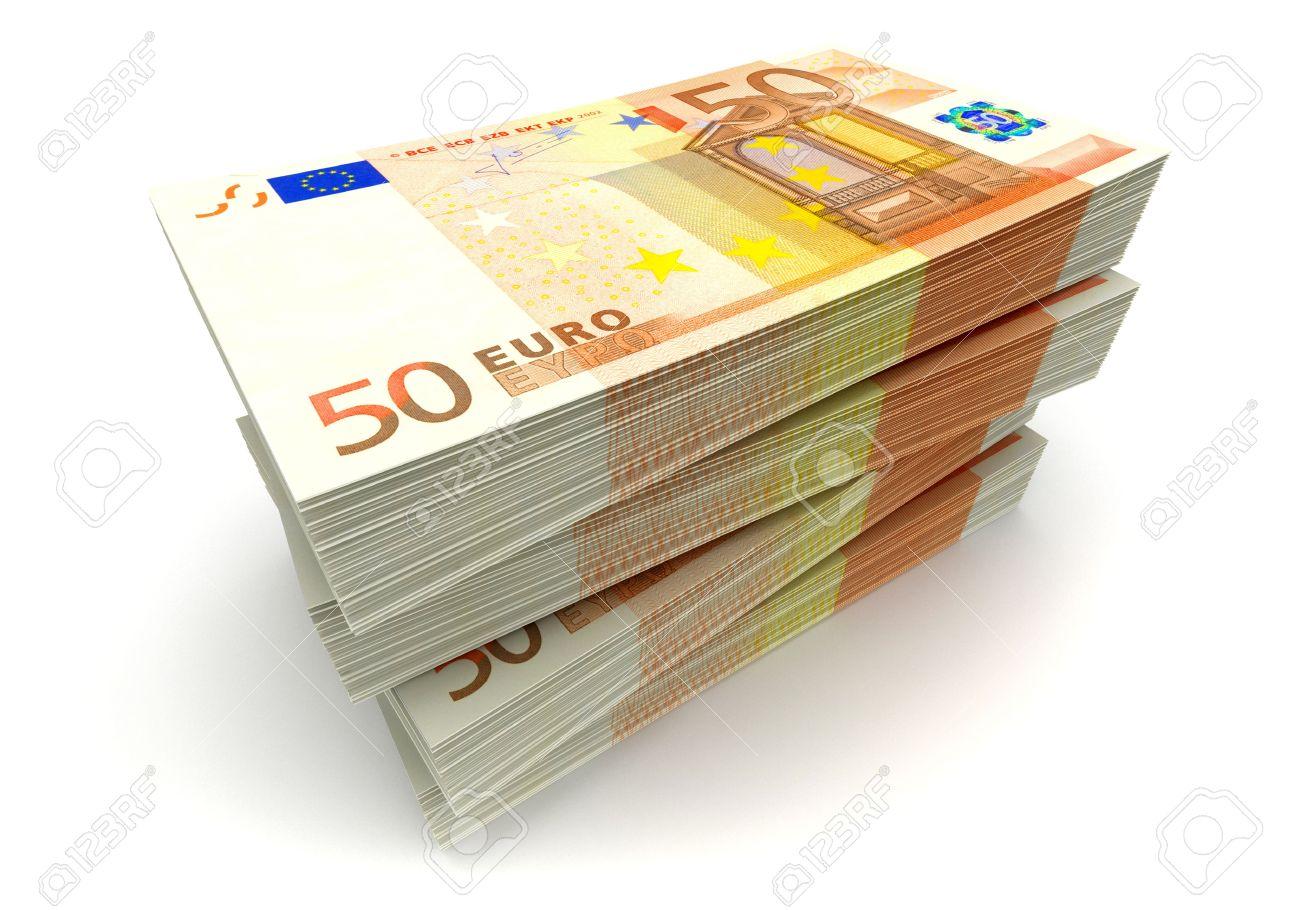 Euro paper money pile on white