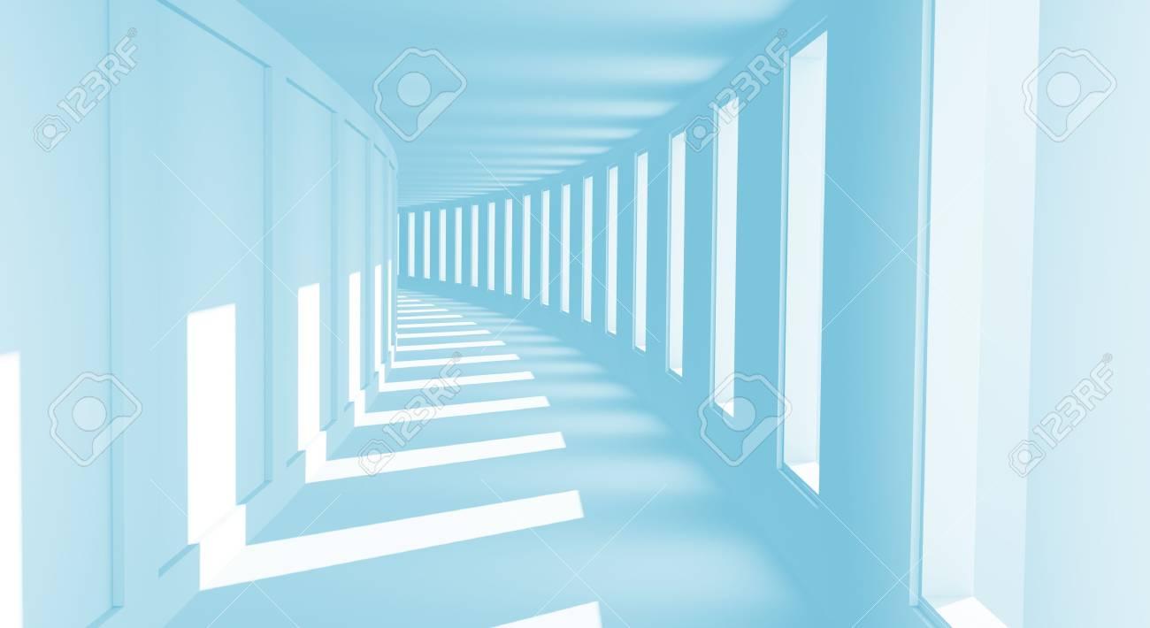 Long empty korridor with open windows Stock Photo - 8146896