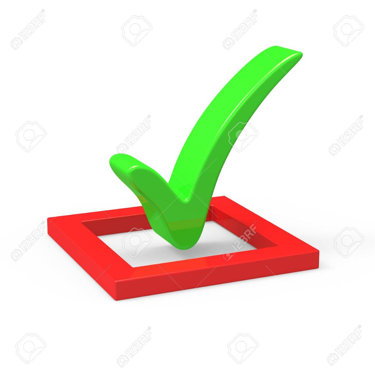 3D green  check mark sign Stock Photo - 8255039