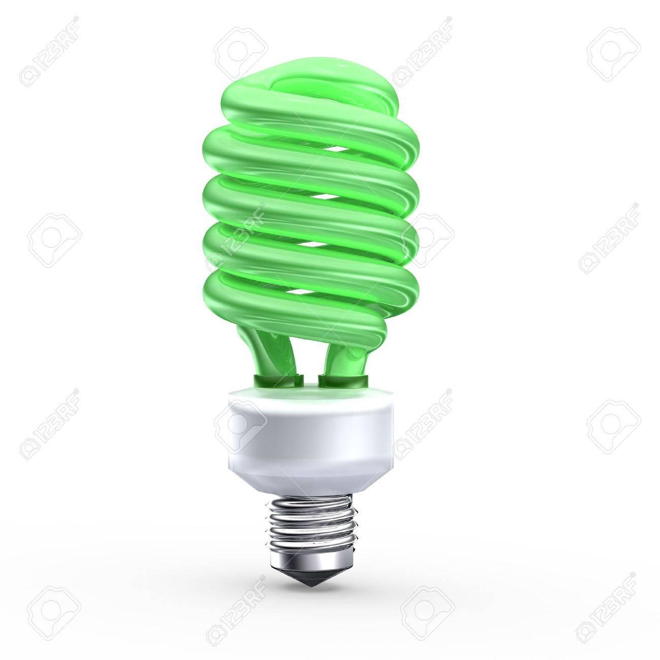 Fluorescent saving light bulb on green background Stock Photo - 8255087