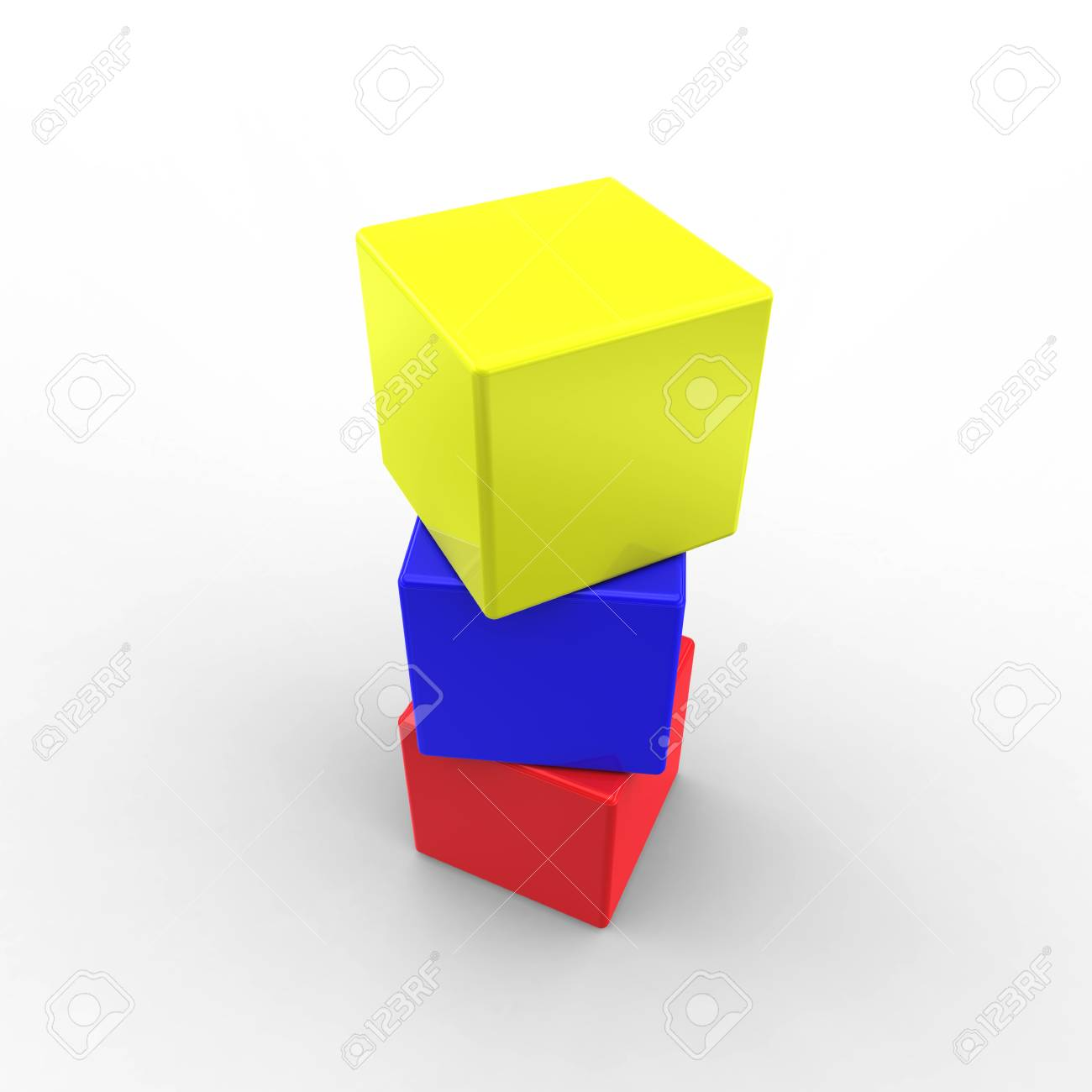 Three color cubes on white Stock Photo - 8302203