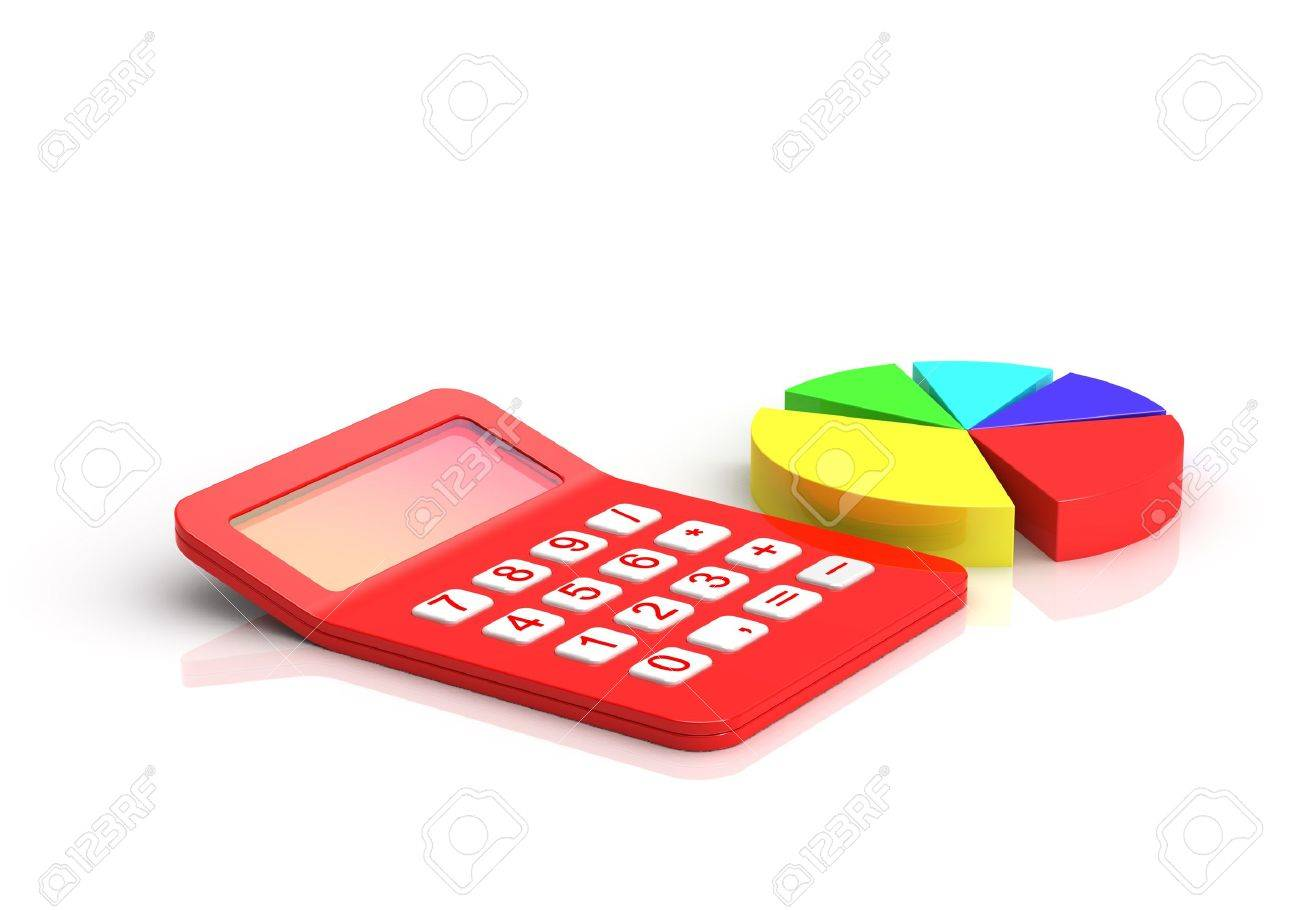 Business diagram and Red calculator Stock Photo - 8345897