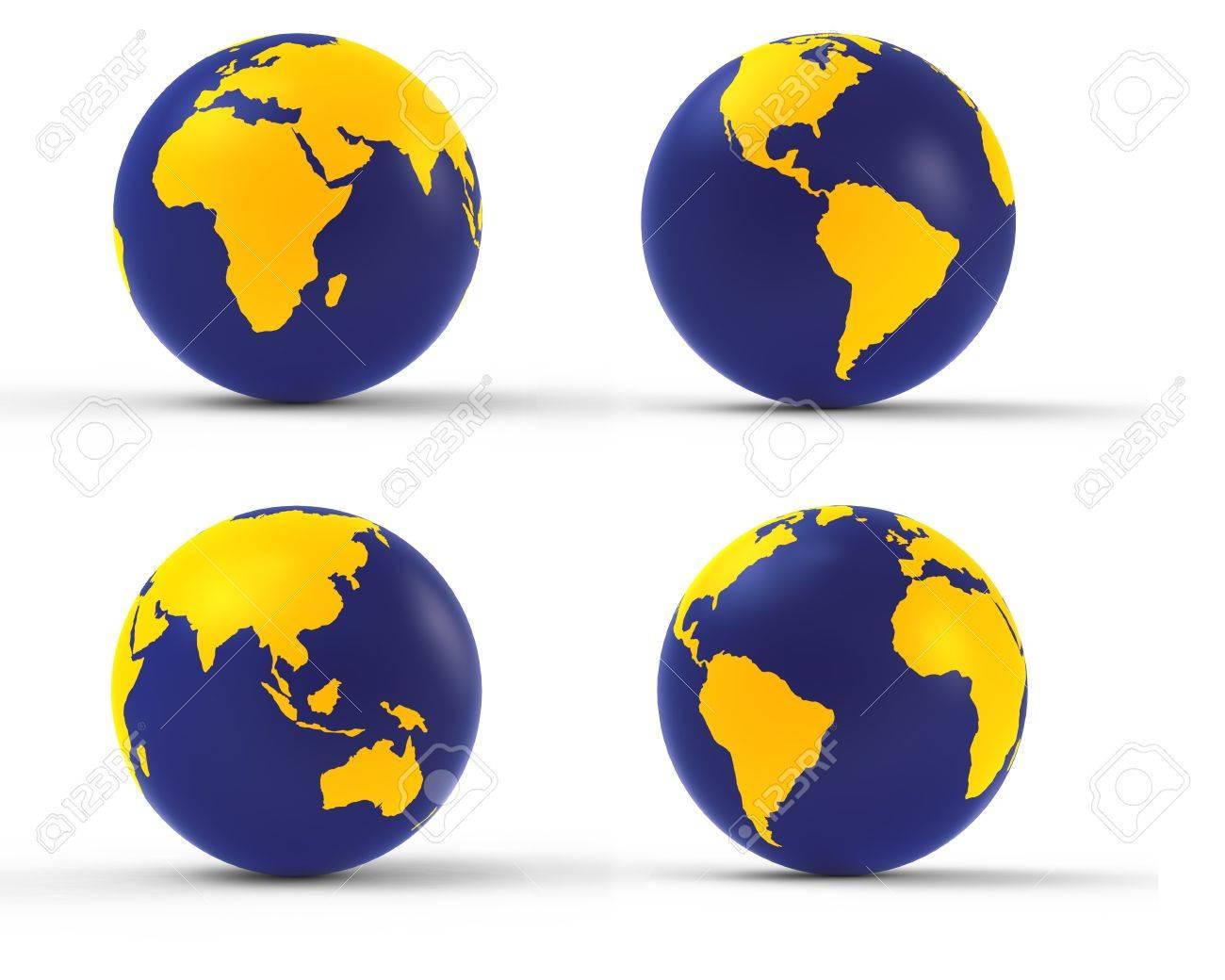 3d earth globe set on white Stock Photo - 8345936