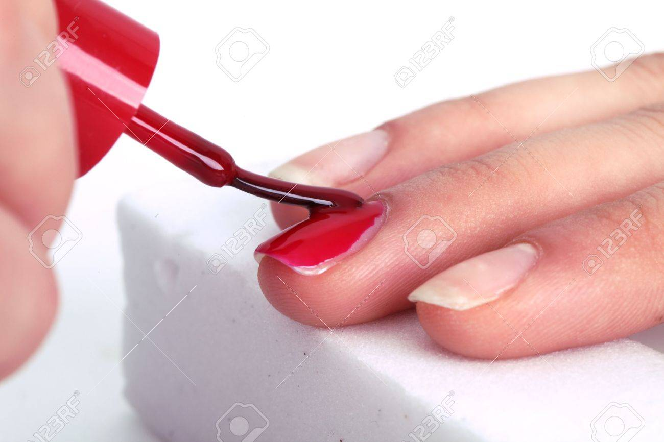 Manicure Nail Paint Pink Color Stock Photo