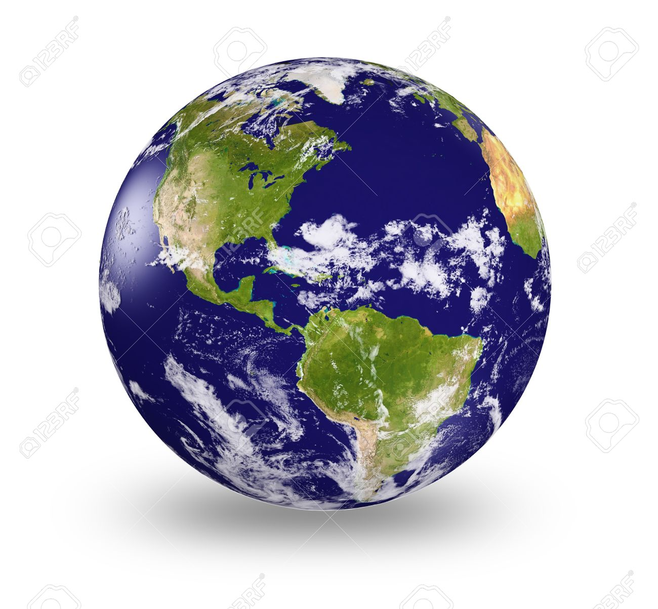 3d Earth Model With Shaded Relief And Clouds Cover. Stock Photo ...