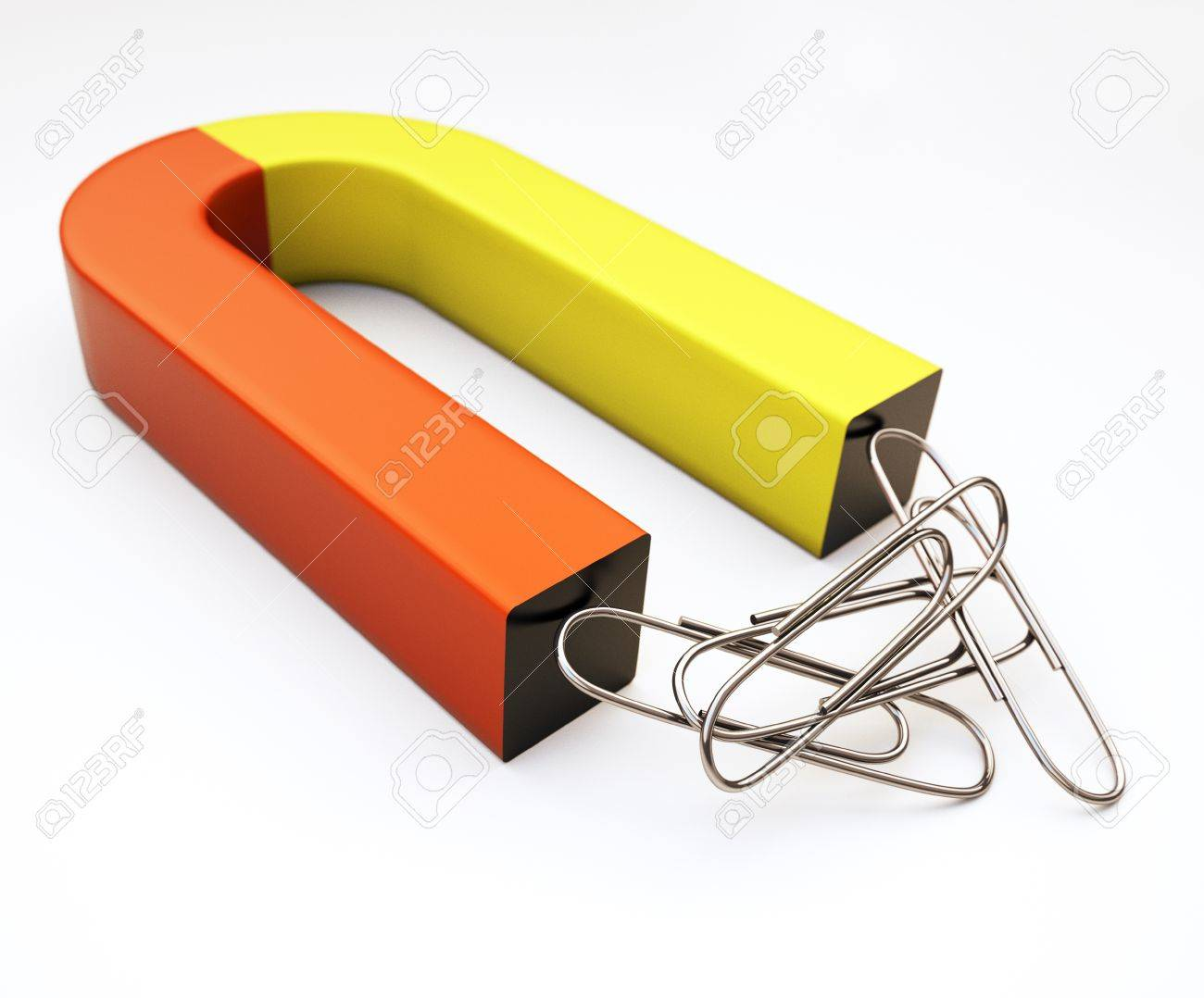 Magnet And Paper Clip Isolated On White Stock Photo, Picture And ...