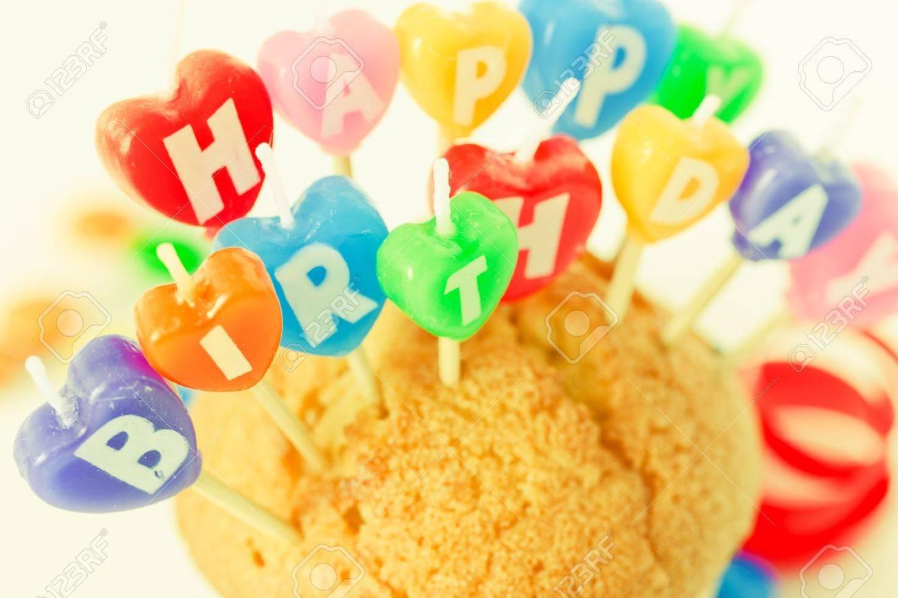 Happy Birthday candle text Stock Photo - 9527064
