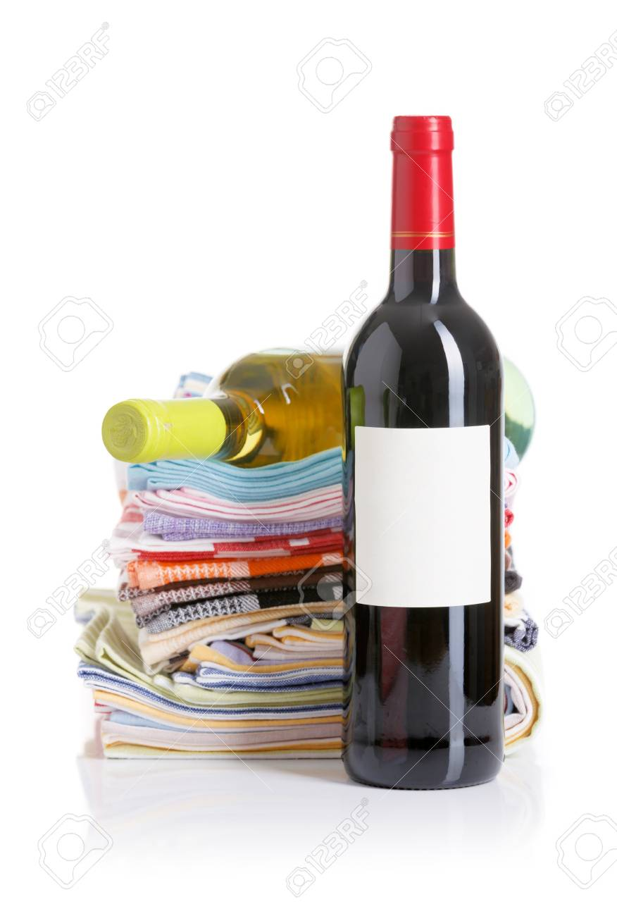 Bottle Of Red And White Wine Kitchen Towels