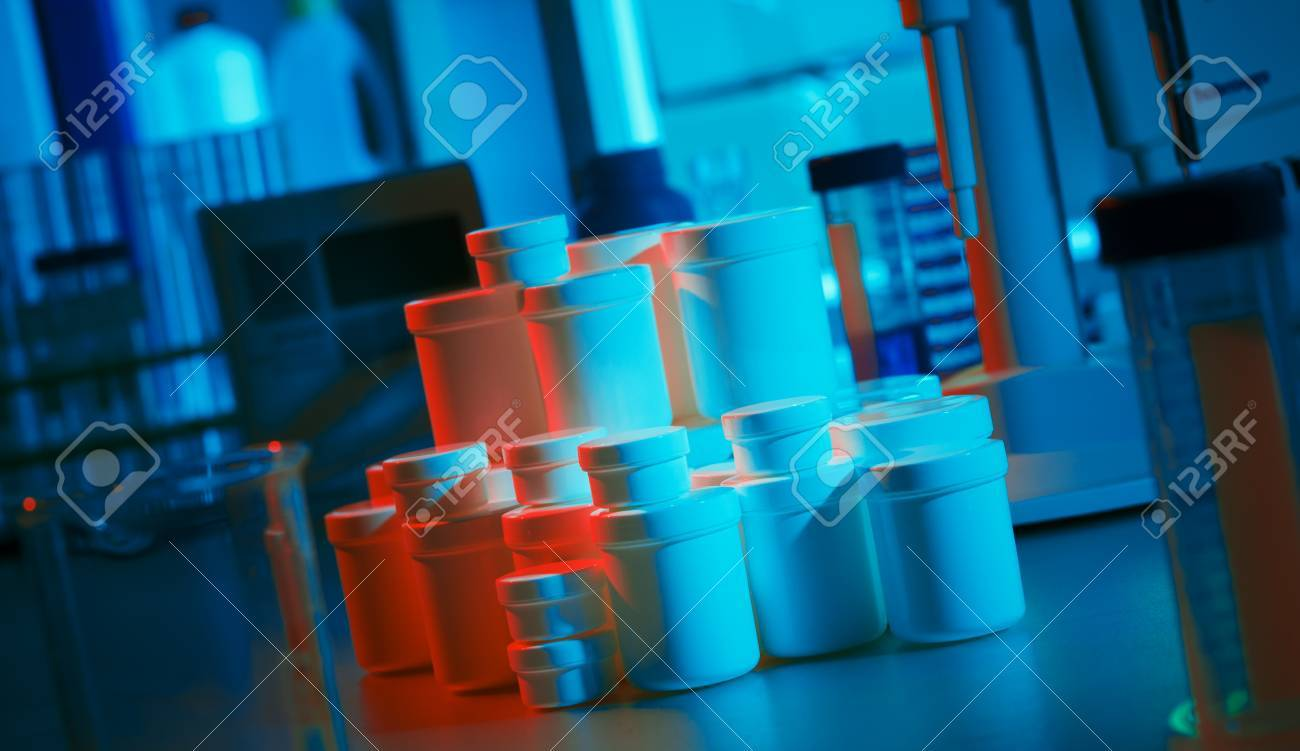 Сans with chemicals and biological samples in the laboratory Stock Photo - 14753516