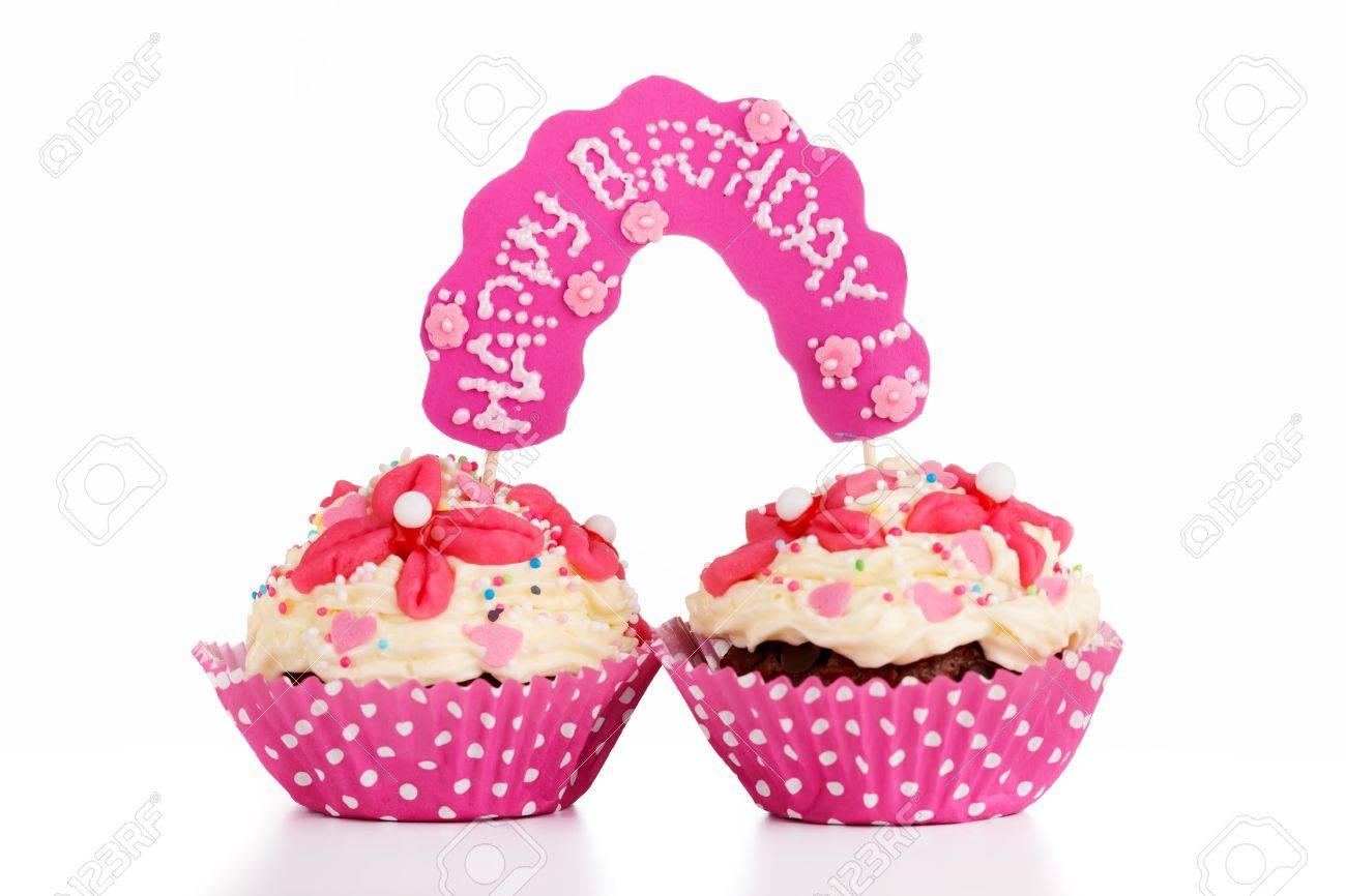 Zwei Muffins Fur Zwillinge Geburtstag Lizenzfreie Fotos Bilder Und