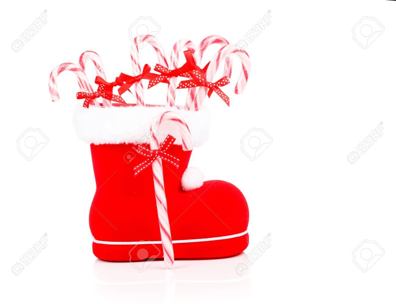Weihnachten Süßigkeiten Stöcke In Einem Roten Schuh Lizenzfreie ...
