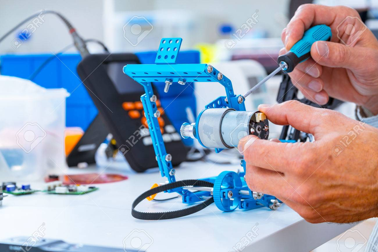 Robotics Development Closeup Electronics Engineer Or Programmer