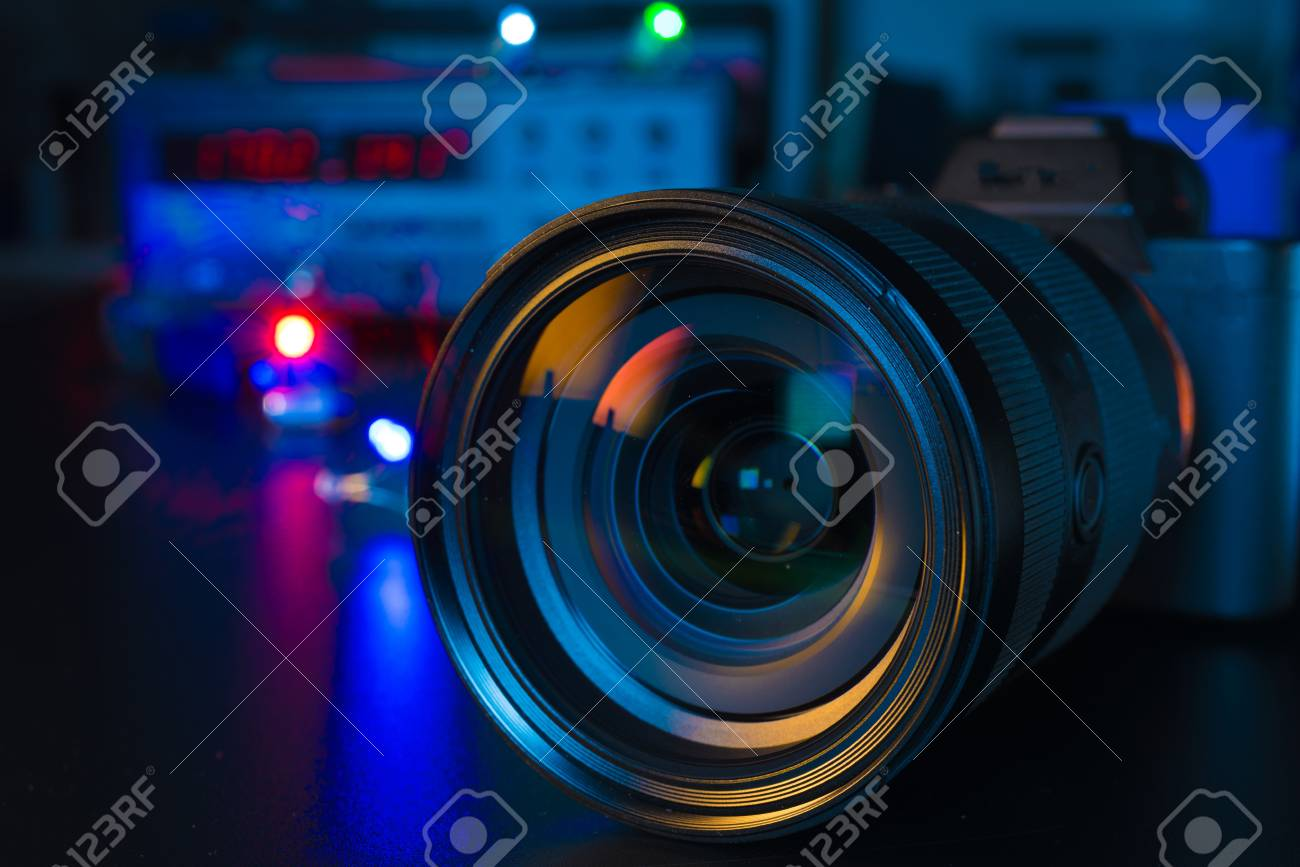 Photo Camera Or Video Lens Close Up On Black Background Dslr Stock