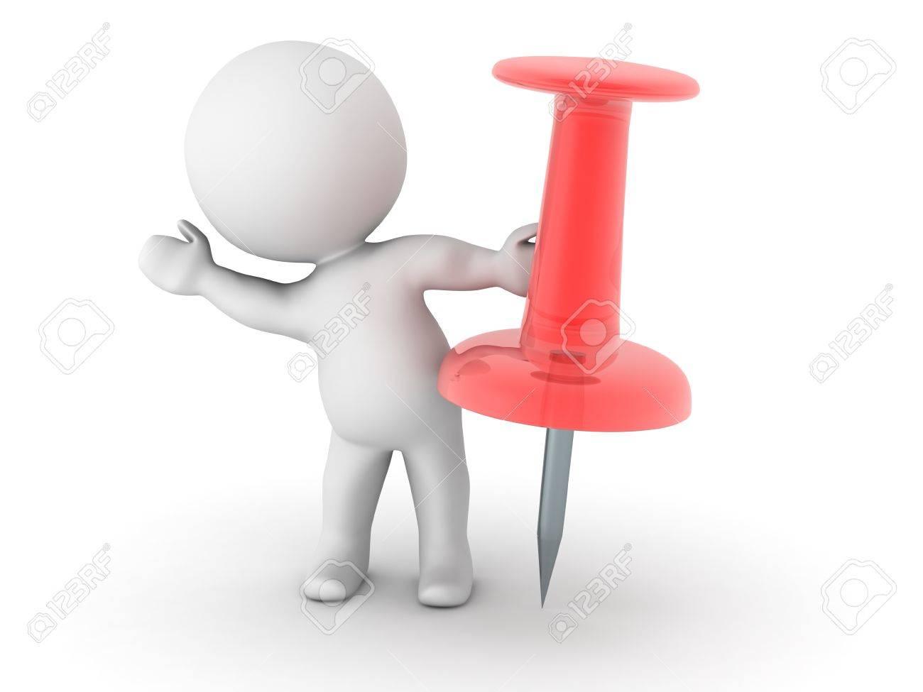 Personnages 3D avec une épingle rouge