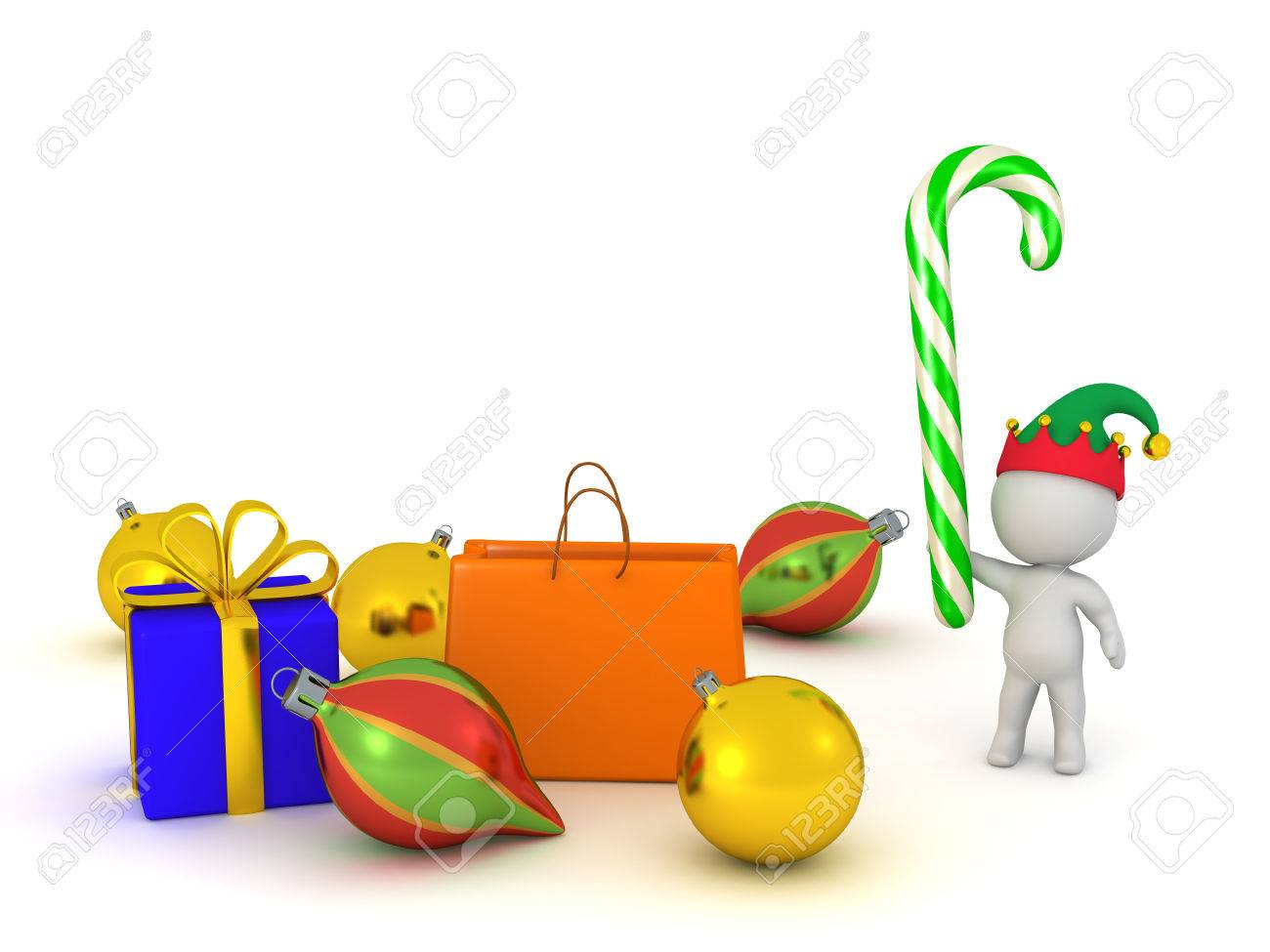 4cb756cd378ee 3D character with Christmas decorations and gifts. Isolated on white  background. Stock Photo -