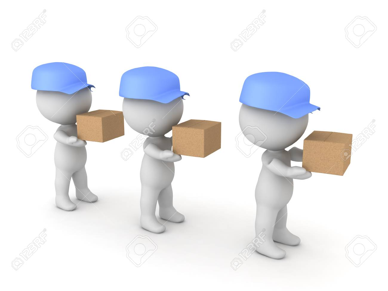 3D illustration of many deliverymen holding packages. They are holding cardboard boxes. - 76663003