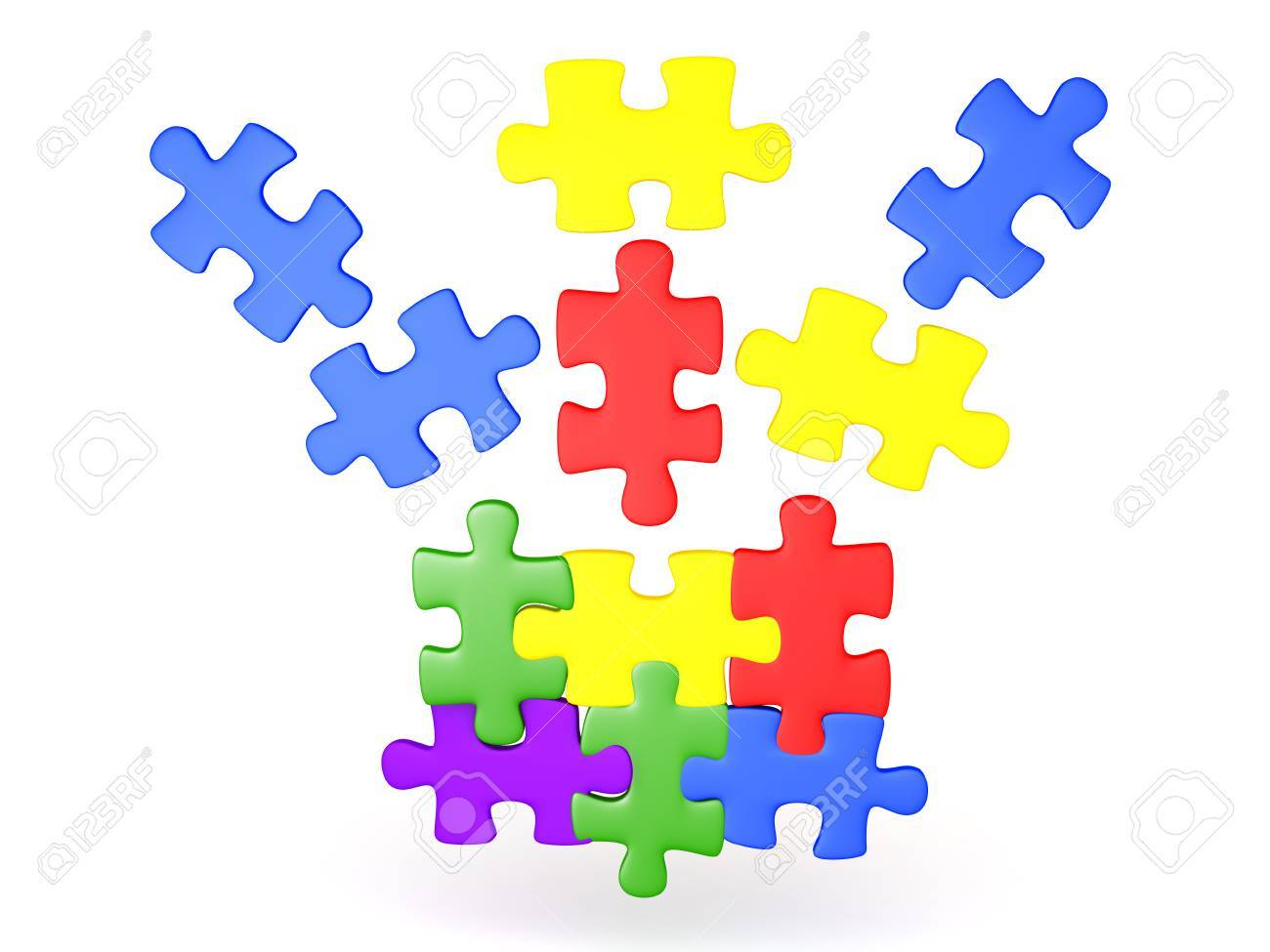 3D Illustration Of Jigsaw Puzzle Pieces Falling Into Place The Are Shiny And Colorful