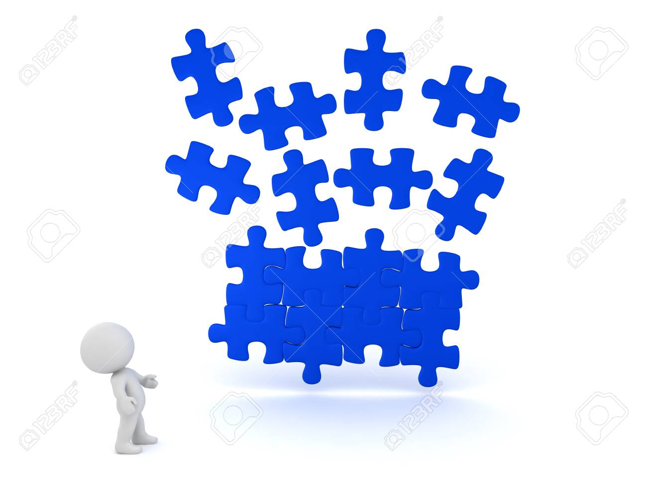 3d illustration of blue puzzle piece falling into place with stock