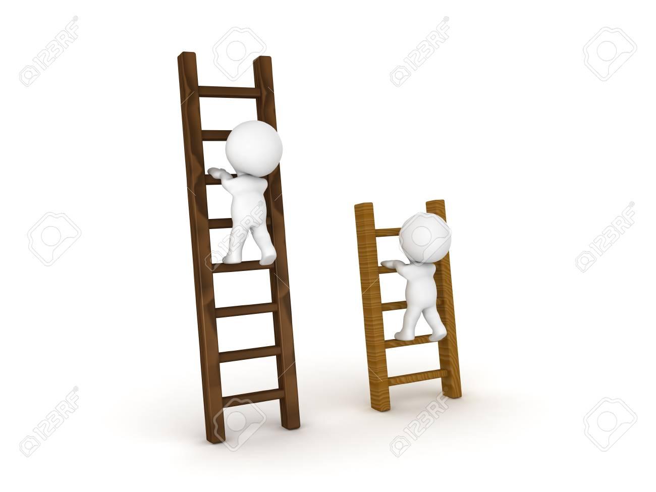 Due personaggi 3D che si arrampicano su diversi tipi di scale  L'immagine  può essere utilizzata nello scenario di confronto