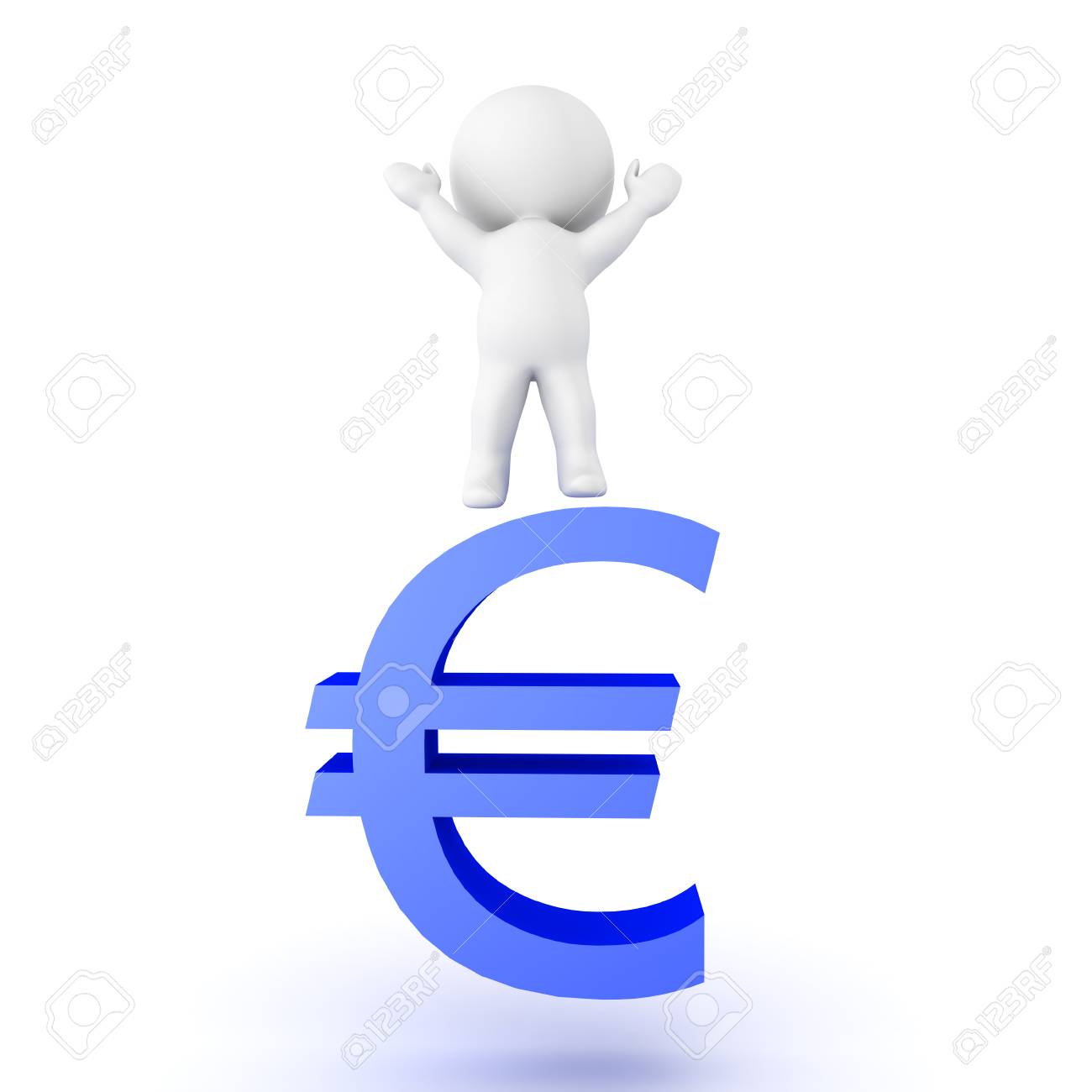 3d Character Jumping On Top Of Blue Euro Currency Symbol Isolated