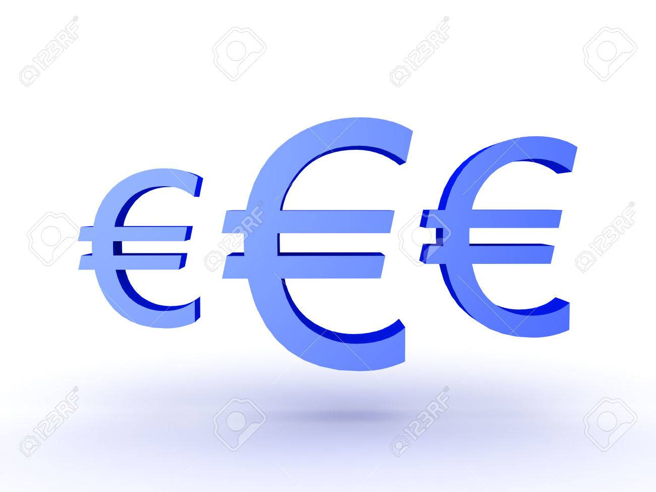 3d Illustration Of Three Blue Euro Currency Symbols Isolated