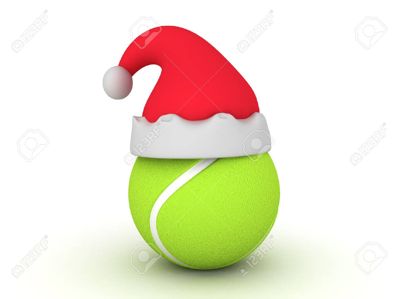 136769bb58315 3D illustration of tennis ball with christmas hat on top of it. Isolated on  white