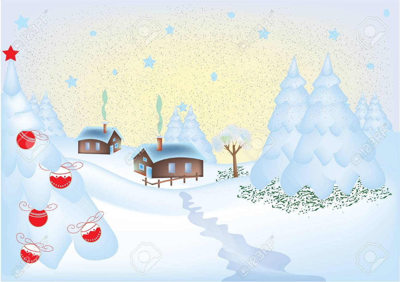 Winter Greeting Card With A Little Village Royalty Free Cliparts