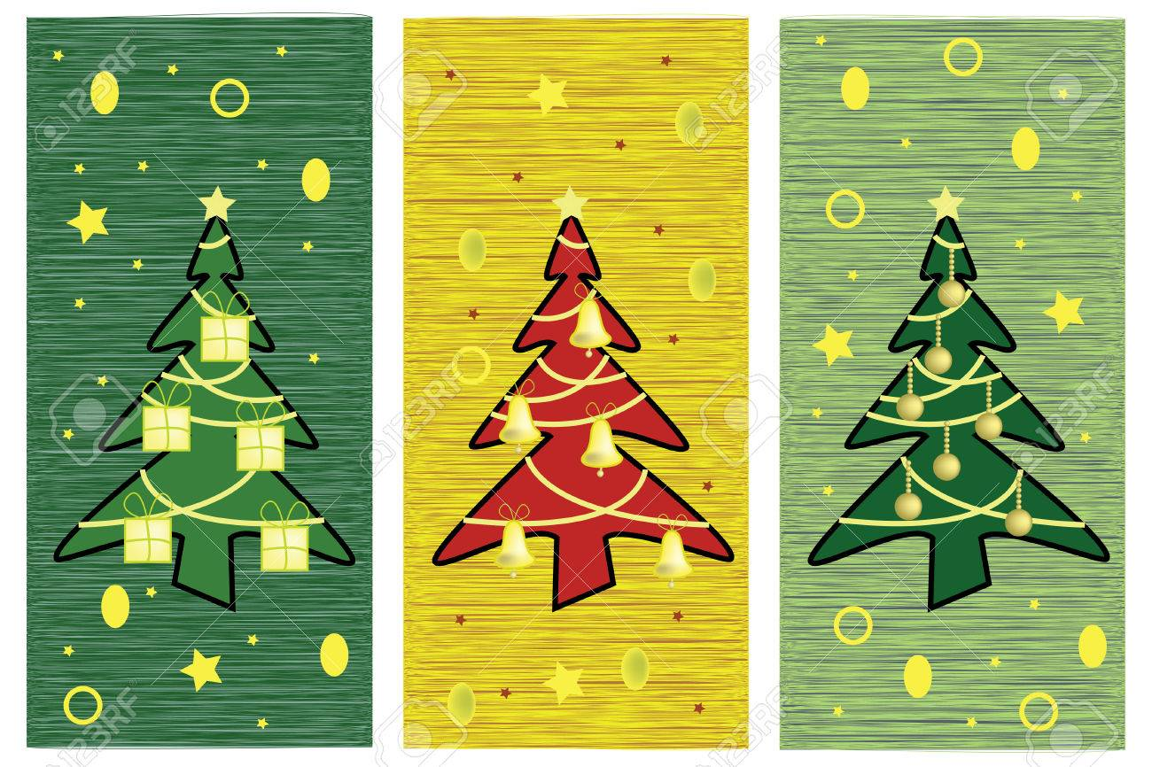 Greeting card with artistic Christmas trees Stock Vector - 5714699