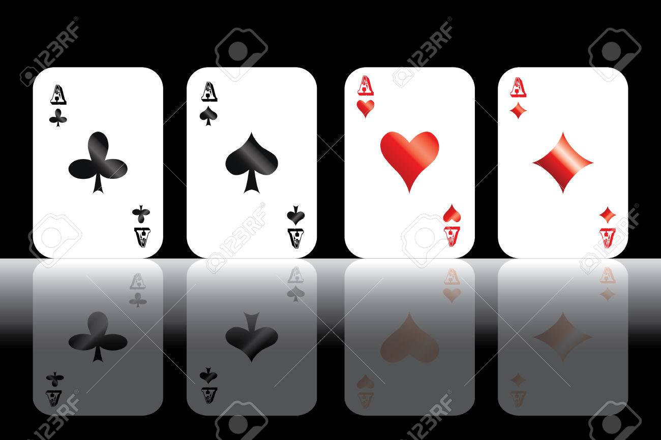 Four aces isolated on black background Stock Vector - 6241690